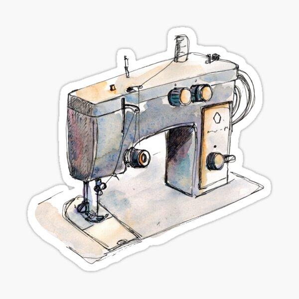 Watercolor sketch sewing machine Sticker