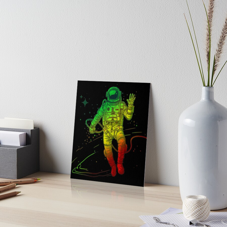 Rasta Dreads Reggae Jamaica Ethiopian Flag Roots Space Man Art Board Print