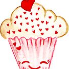 watercolor Illustration - Cute In Love Muffin  by Takoo chy