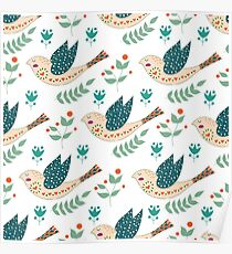 Folk birds and flowers Poster