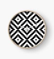 Aztec Symbol Block Ptn BW2 Clock