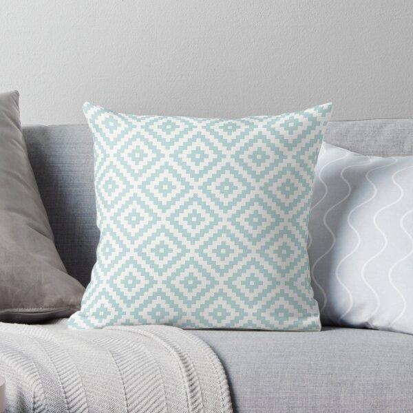 Aztec Symbol Block Ptn Duck Egg Blue & Wt I Throw Pillow