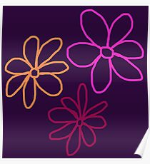 Line Art 3x Flowers : Pink Berry Tangerine on Crown Jewel Purple Poster