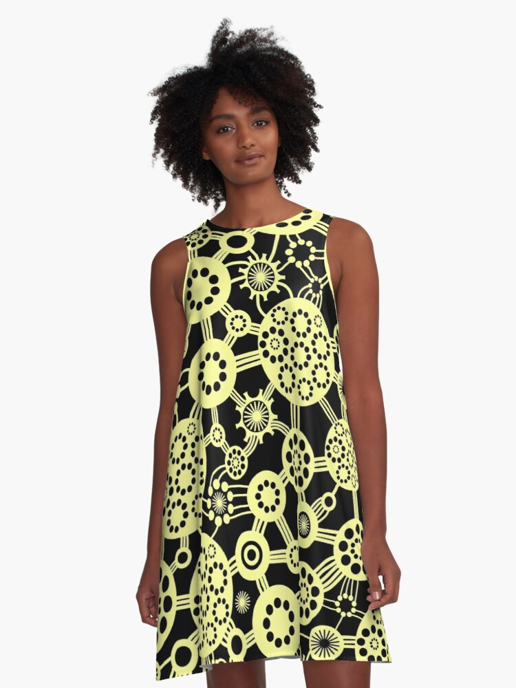 Ecosystem - Chalk Yellow and Black A-Line Dress Front