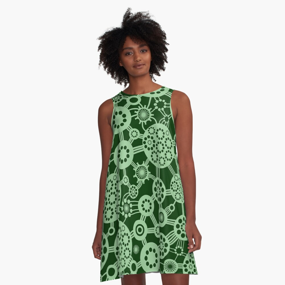 Ecosystem - Faded Green and Dark Green A-Line Dress Front