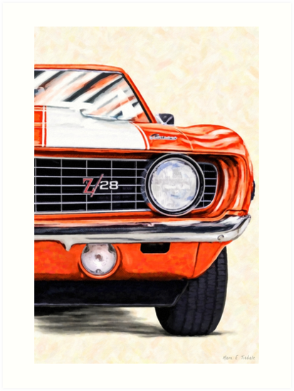 1969 Camaro Artwork Hugger Orange Classic Camaro Muscle Car Art