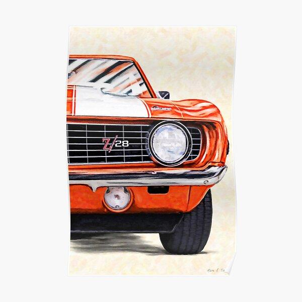 1969 Camaro Artwork - Hugger Orange - Classic Camaro Muscle Car Poster