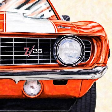 1969 Camaro Artwork - Hugger Orange - Classic Camaro Muscle Car by marksda1