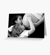 Kissing Mommy's Belly Greeting Card