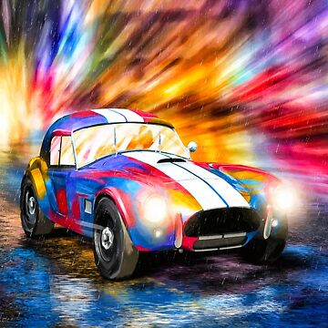 Shelby Cobra - Classic 1960s Racing Car In The Rain by marksda1