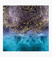 Gold floral mandala and confetti image Photographic Print