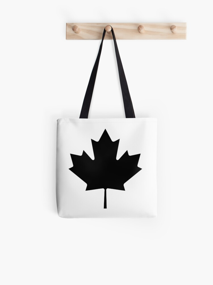 068e2cf0ca51 CANADA, CANADIAN, Maple leaf, Canadian Flag, National Flag of Canada,  Funeral, Mourning, A Mari Usque Ad Mare, Pure & Simple, in BLACK | Tote Bag