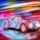 Vintage Bugatti Art - Classic Bugatti Type 57SC Atlantic In the Rain by Mark Tisdale