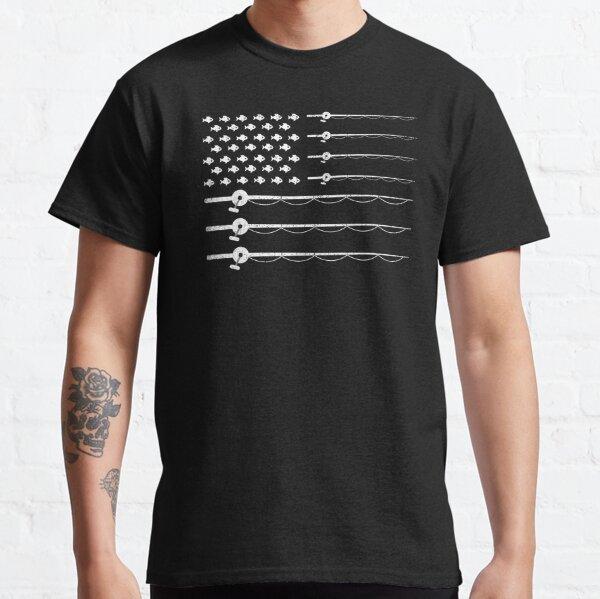 Vintage Patriotic Fishing USA American Flag T-Shirt Tee Gift Classic T-Shirt