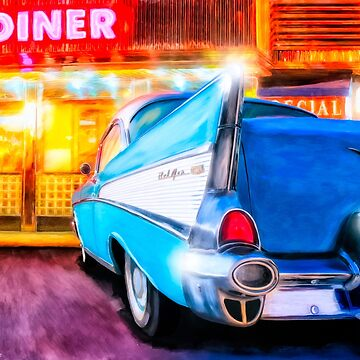 Vintage 1957 Chevy - American Diner - Classic Car Art by marksda1