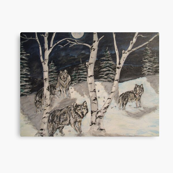 Wolves in the woods Canvas Print