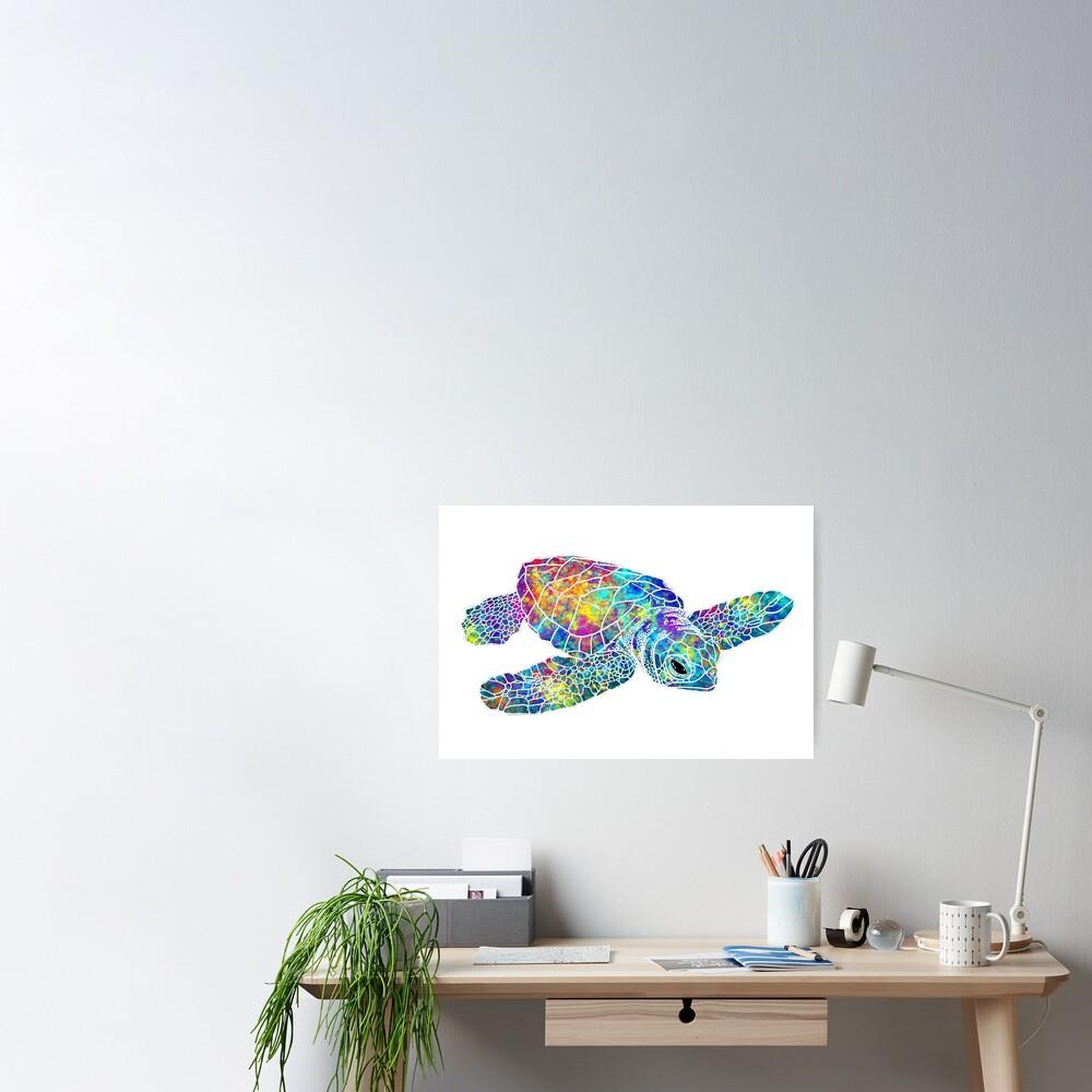 Sea Turtle Watercolor Art Poster