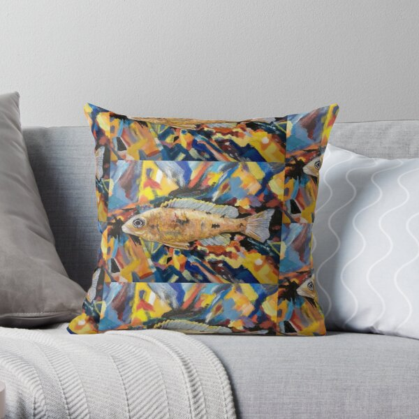 African Cichlid, Moo Throw Pillow