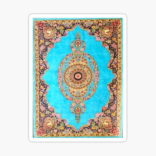 Blue Floral Persian Rug Carpet Pattern Sticker