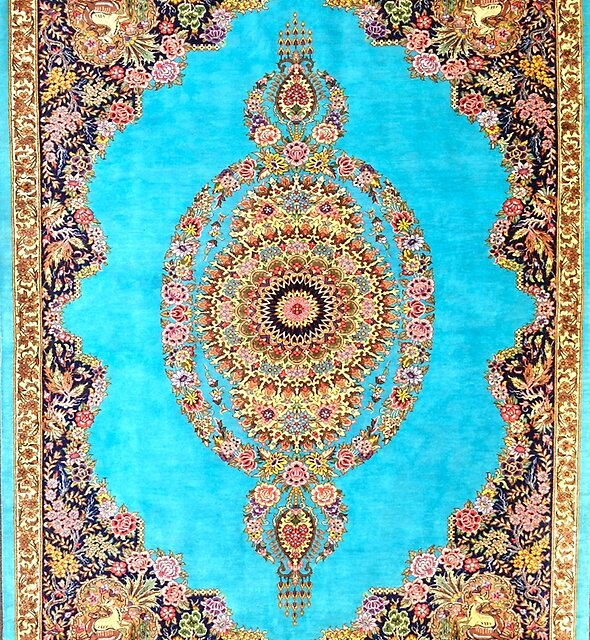 Blue Floral Persian Rug Carpet Pattern by Vicky Brago-Mitchell