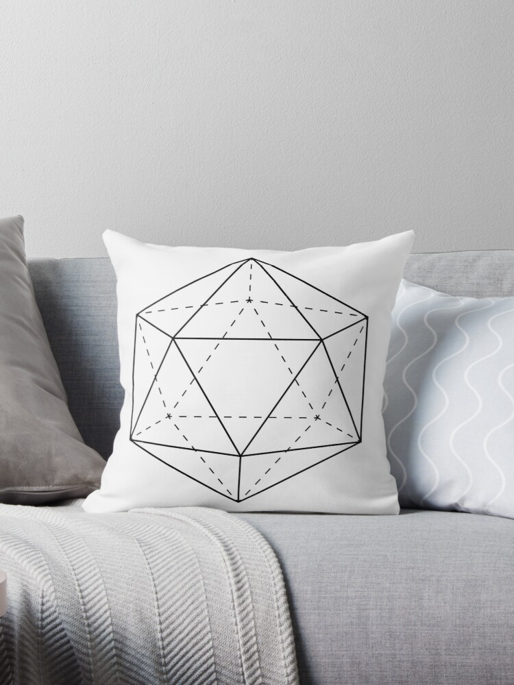 \'Icosahedron, Icosahedron Solid, Sacred Geometry, Geometric, Platonic  Solids, Modern, Contemporary\' Throw Pillow by marzzgraphics
