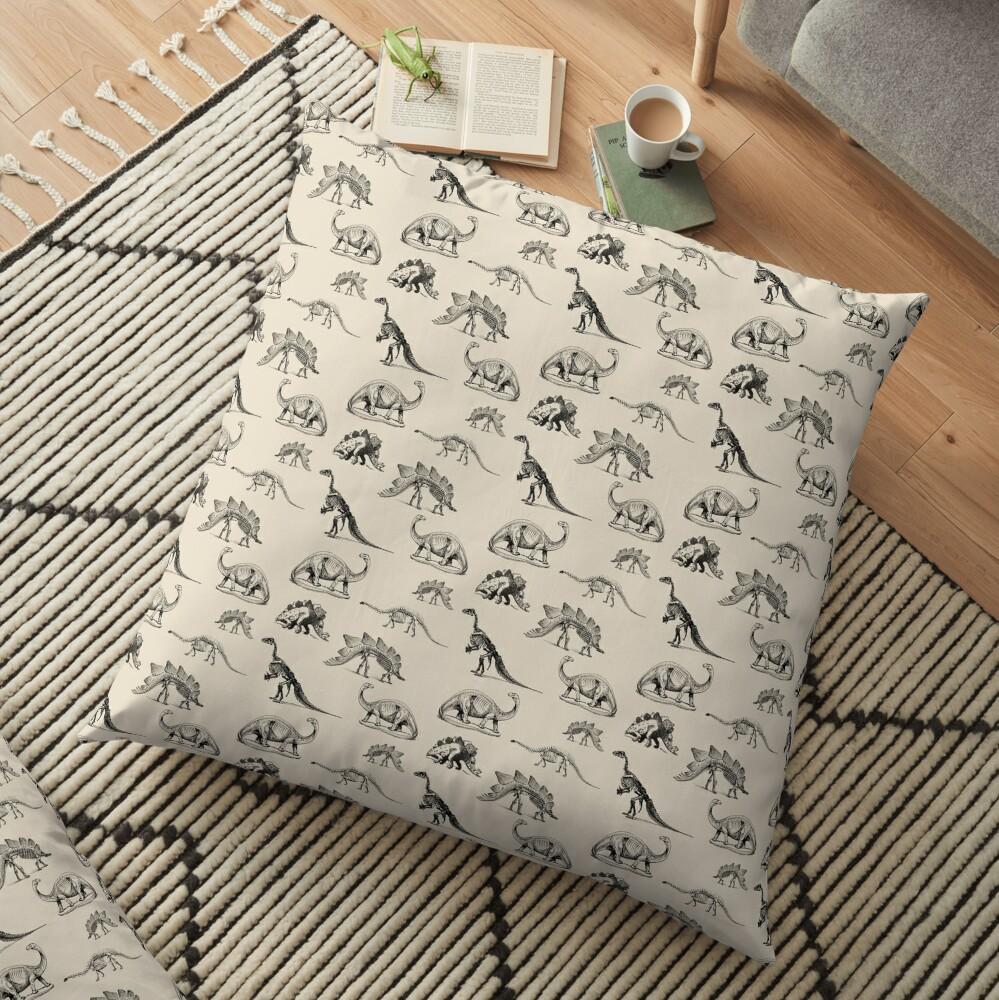 Vintage Museum Dinosaurs on Cream Floor Pillow