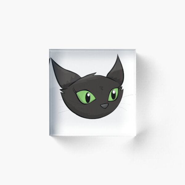 Cute Cartoon Black Cat Acrylic Block