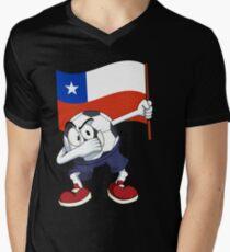 Chile Dabbing Soccer Ball Men's V-Neck T-Shirt