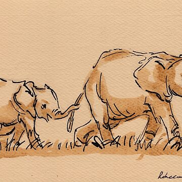 Mommy: Elephants Watercolor Painting #9 by tranquilwaters