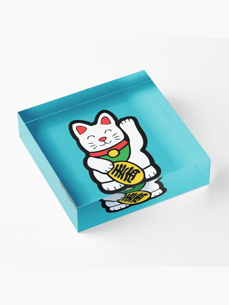 Alternate view of Lucky Cat Pattern Acrylic Block