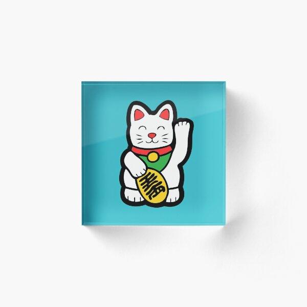 Lucky Cat Pattern Acrylic Block