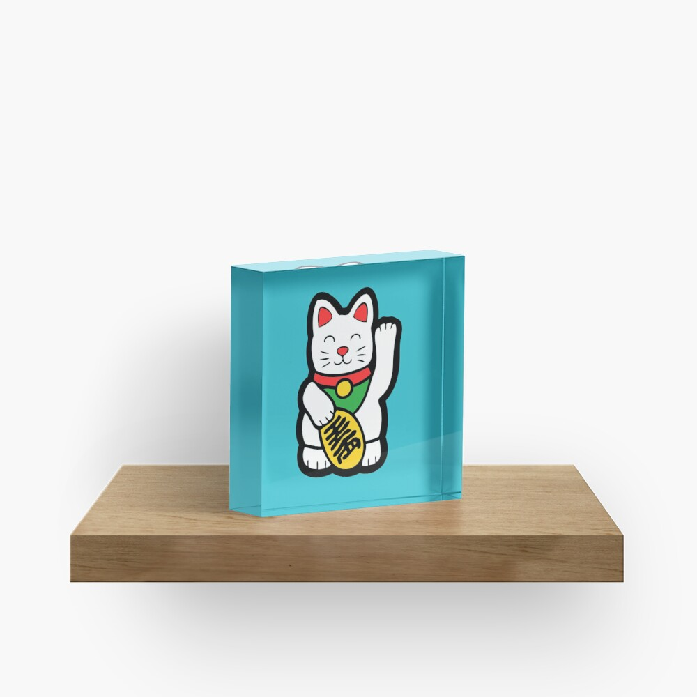 Lucky Cat Pattern Acrylic Block