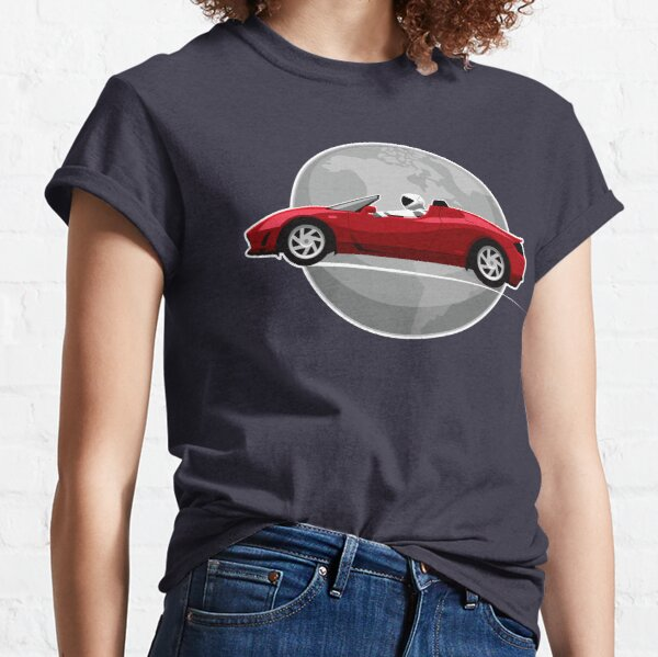 Red Tesla roadster orbiting Earth Classic T-Shirt