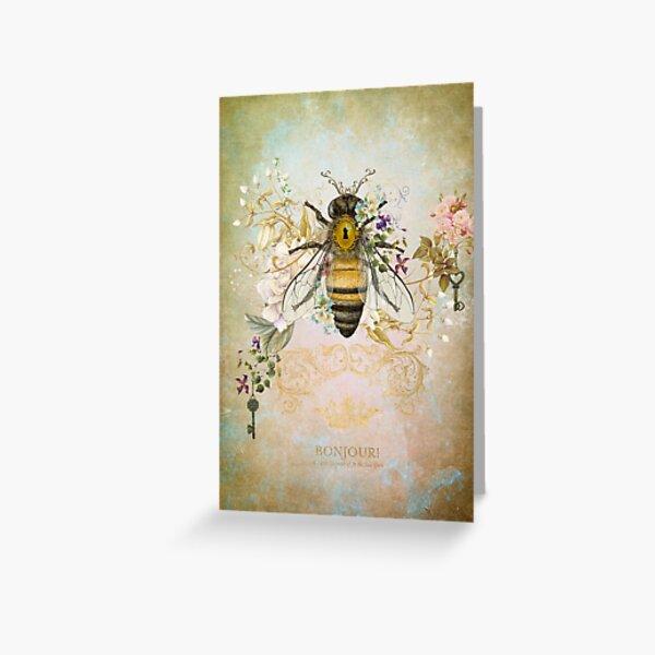Honey Bee Vintage Portrait Style Greeting Card