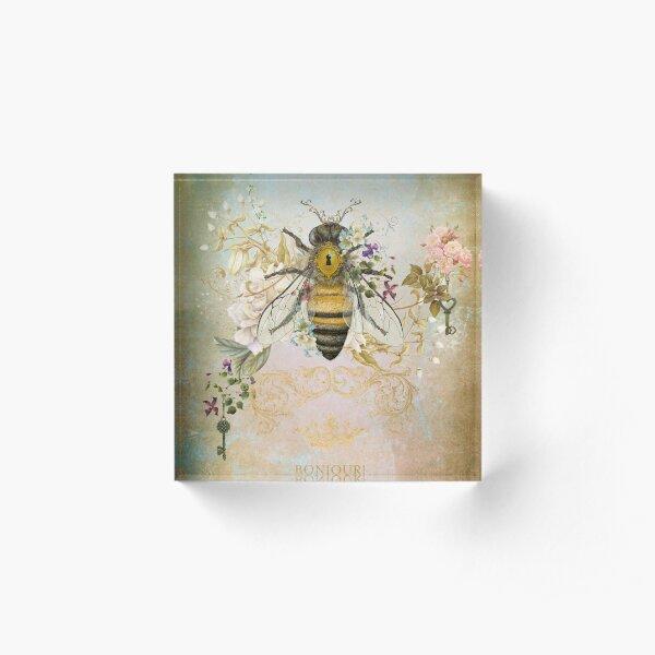 Honey Bee Vintage Portrait Style Acrylic Block