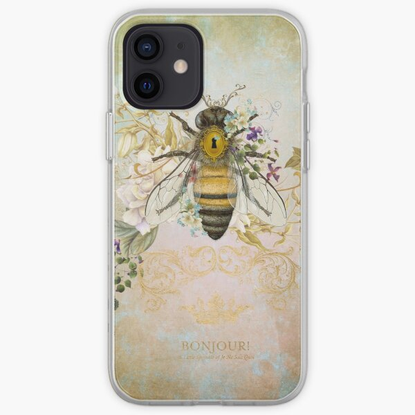 Honey Bee Vintage Portrait Style iPhone Soft Case