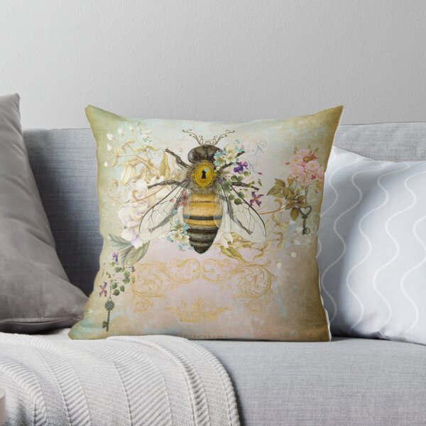 Honey Bee Vintage Portrait Style Throw Pillow