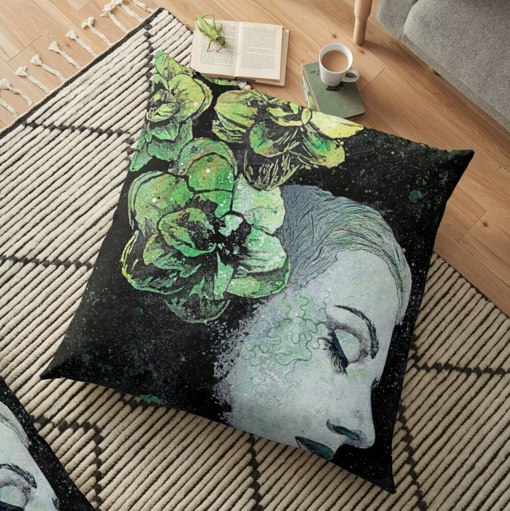 Obey Me (flower girl portrait, spray paint graffiti painting) Floor Pillow