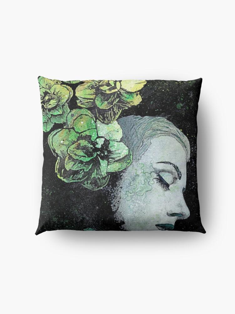Alternate view of Obey Me (flower girl portrait, spray paint graffiti painting) Floor Pillow