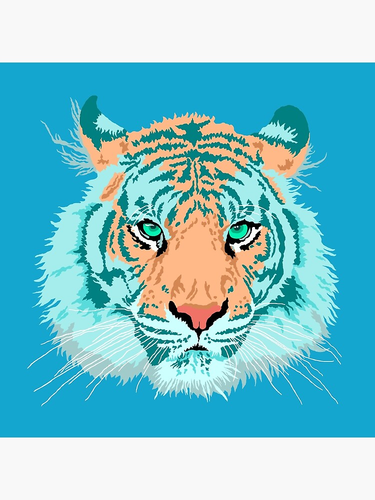 Tiger In Teal And Aqua by theartofvikki