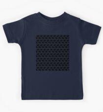 Seamless Pattern of Black Pixel Hearts on Dark Grey (7x6) Kids Tee