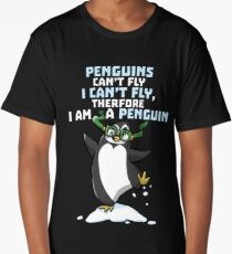 Funny Penguin Cartoon Graphic Design Long T-Shirt