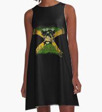 Jamaica Bobsled Bobsleigh National Flag Vintage Jamaican Flag Sledding Fan Squad Winter Sports Lover A-Line Dress