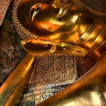 The Reclining Buddha, Wat Pho, Bangkok, Thailand  by Carole-Anne