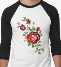 Fun cartoon Sticker & roses  Men's Baseball ¾ T-Shirt