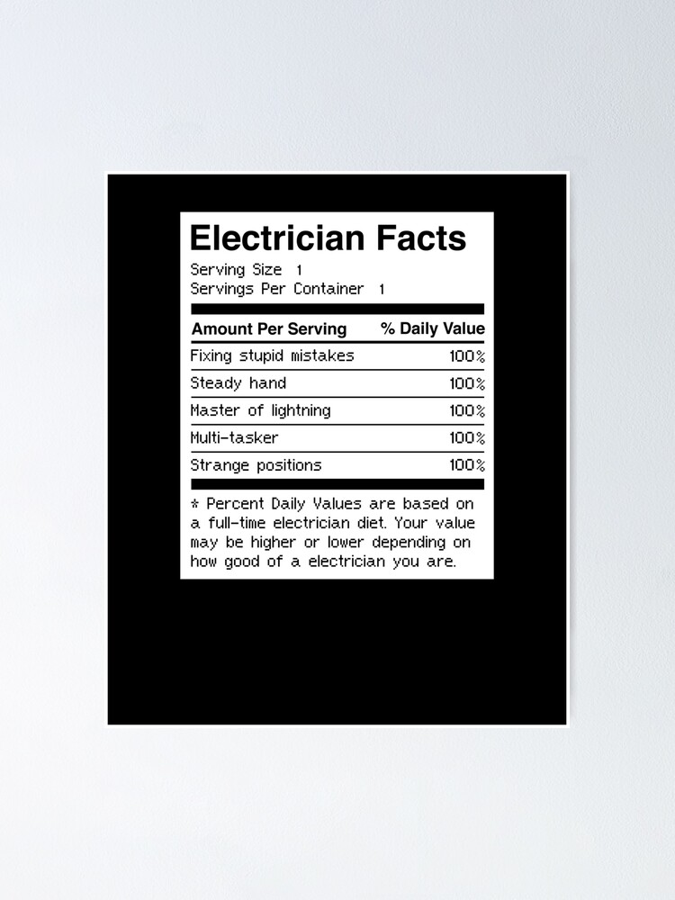 Funny Electrician Facts Poster By Ethandirks Redbubble