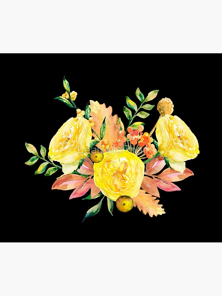 Romantic Yellow Watercolor Flowers on Black by LeahMcPhail