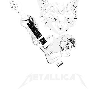 Metallicat Funny Heavy Metal Cat with guitar music lover gift t shirt by Johannesart