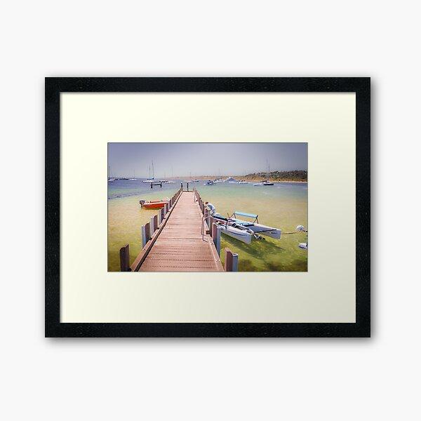 A CATAMARAN AND THE THE BAY AWAITS Framed Art Print