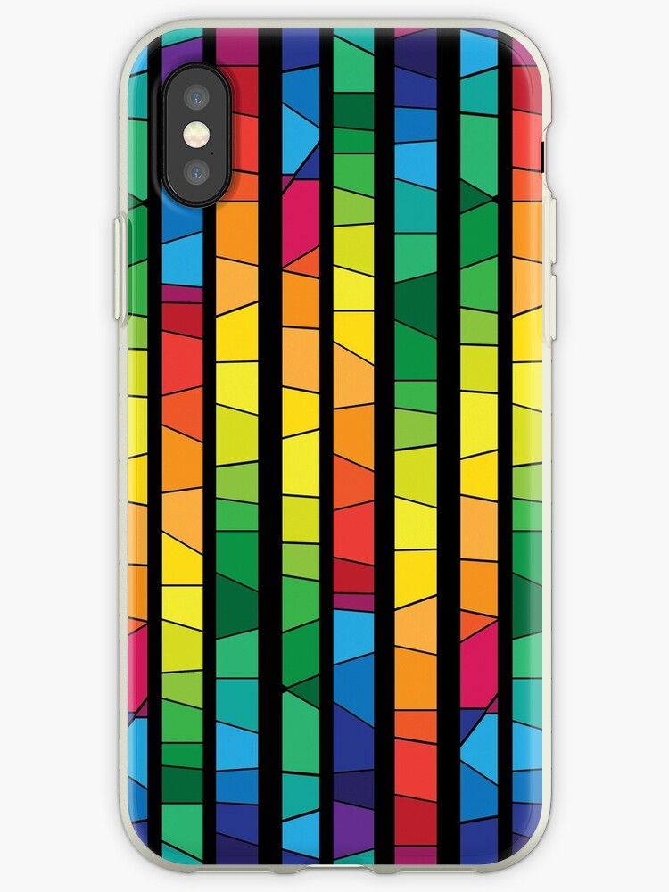 Colored Stained Glass Abstract Geometric Seamless Pattern Iphone Case By Handik